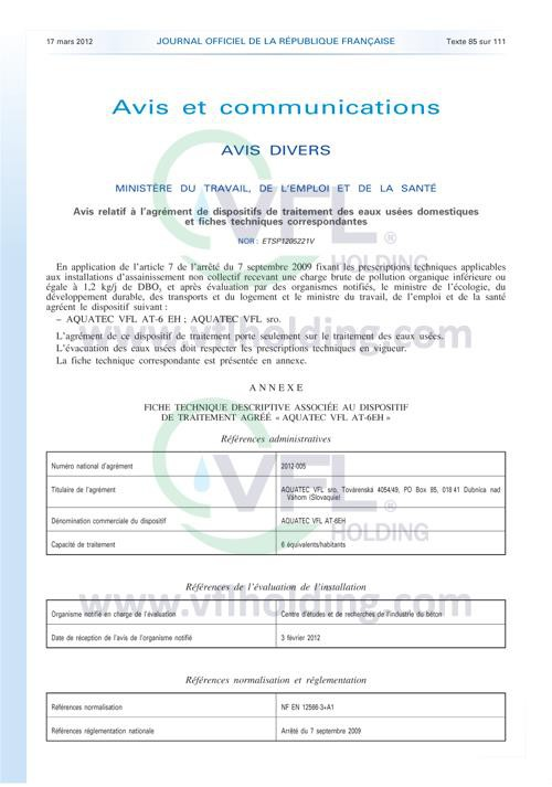 VFL French Certificate