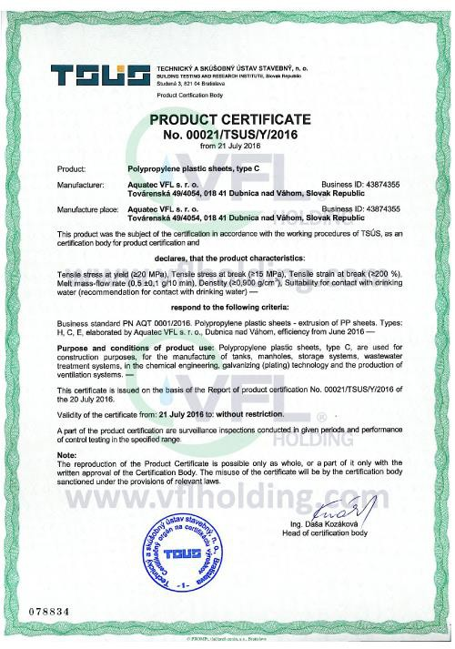 Aquatec product certificate for PP extrusion sheets.