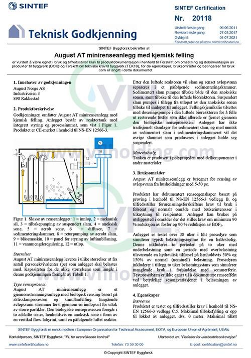 Sintef certificate for VFL wastewater treatment plants