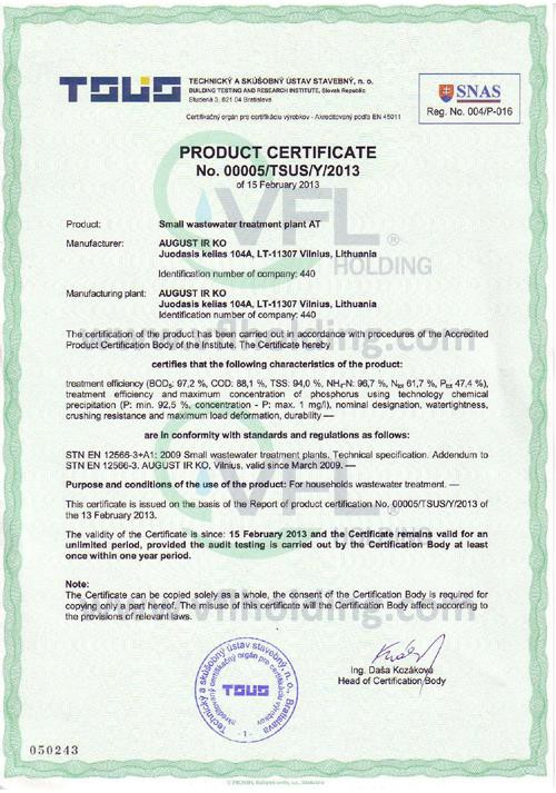 VFL wastewater treatment plants product certificate.